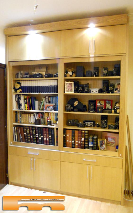 Estanterias librerias de madera estantera con estructura de acero inoxidable y madera chapada - Estanterias a medida ...