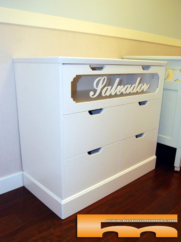 Mueble comoda cambiador a medida lacado personalizado rubi vador - Tiradores para muebles infantiles ...