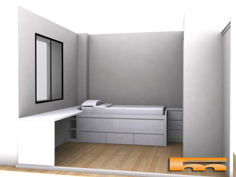 Cama compacta lacada habitaci n juvenil a medida sant for Medidas cama compacta