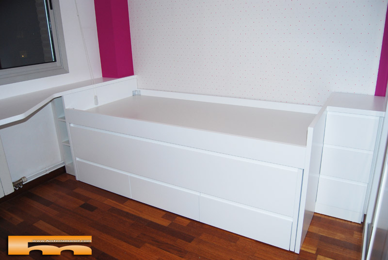 Cama compacta lacada habitaci n juvenil a medida sant for Cama infantil compacta