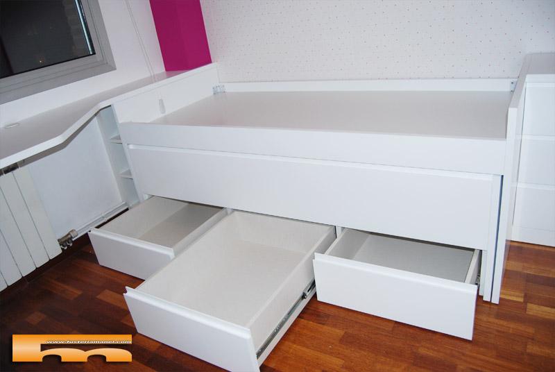 Cama compacta lacada habitaci n juvenil a medida sant for Camas compactas juveniles con cajones