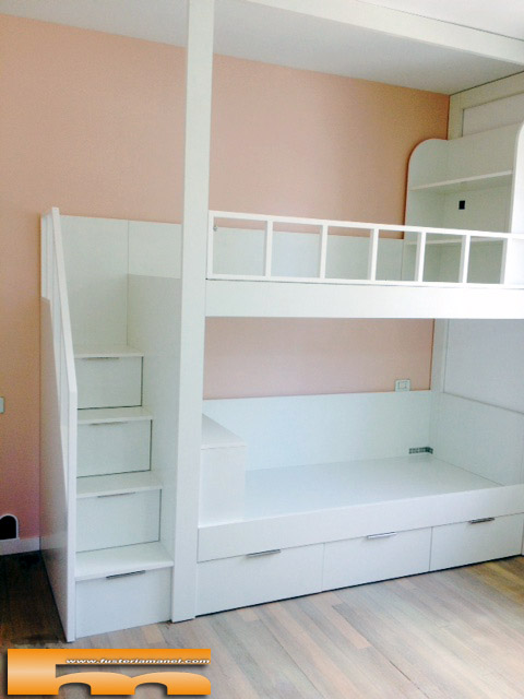 Litera escalera cajones habitacion infantil miren - Literas para ninas ...