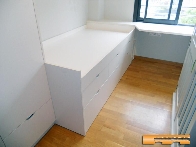 Cama compacta nido y cajones con armario y escritorio a for Cama compacta con escritorio