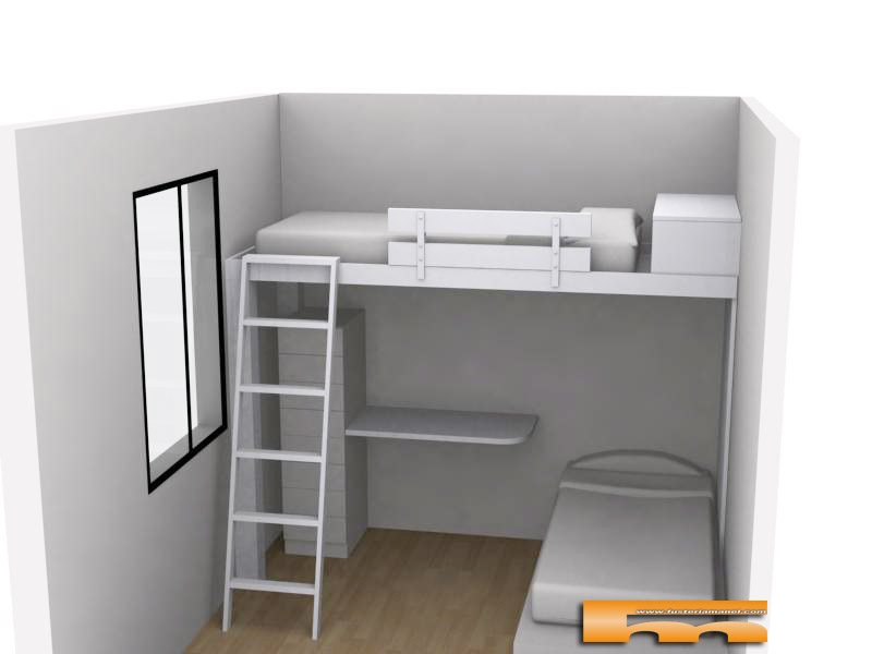 Cama alta para habitaci n infantil compartida barcelona for Estructura de cama alta ikea