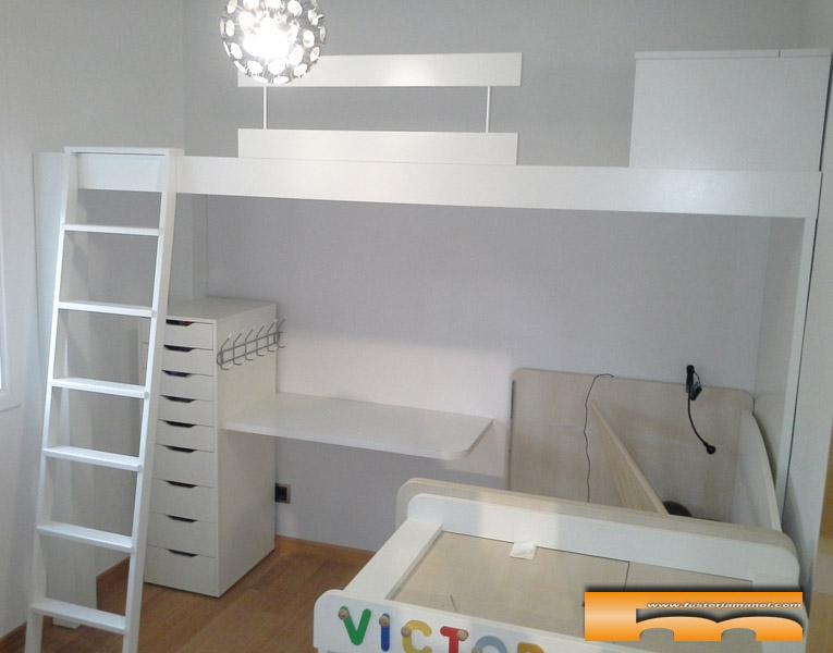 Cama alta para habitaci n infantil compartida barcelona - Muebles infantiles barcelona ...