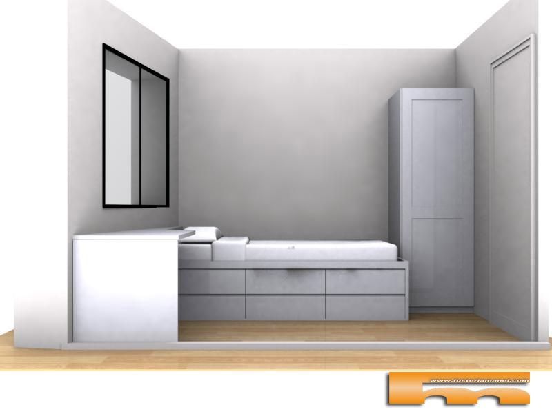 Cama con cajones escritorio y armario habitaci n juvenil for Cama juvenil doble con cajones