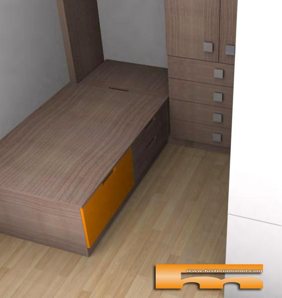 Cama tipo nido cajones y baul habitaci n infantil - Muebles en cornella ...