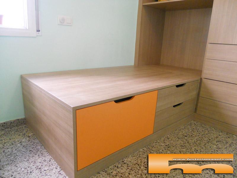 Cama tipo nido cajones y baul habitaci n infantil for Cama nido con cajones ikea