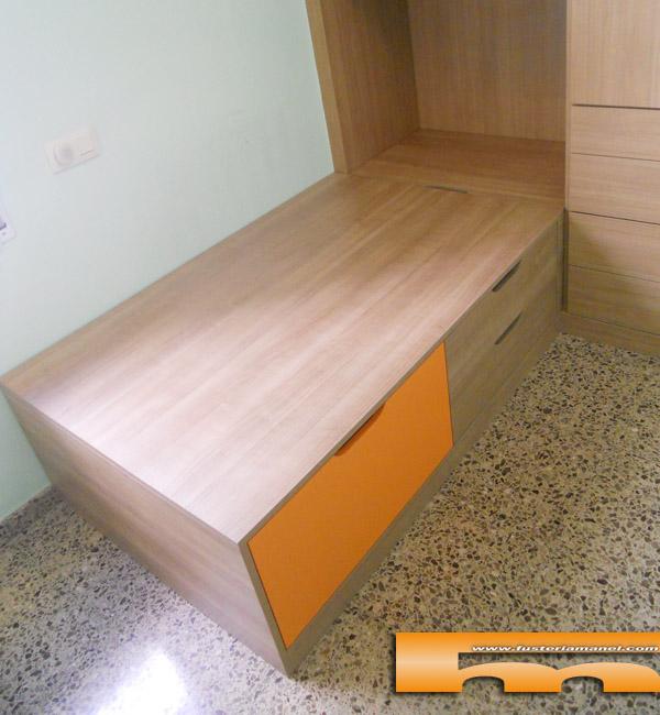 Cama tipo nido cajones y baul habitaci n infantil for Cama nido infantil con cajones