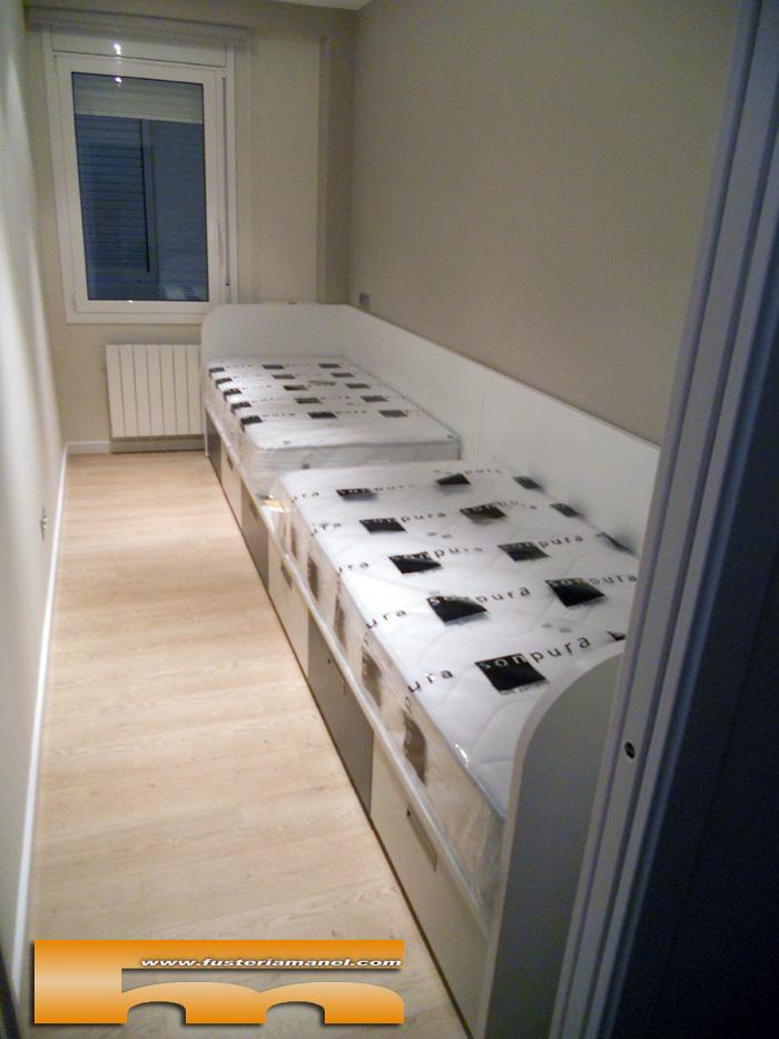 Cama nido cajones a medida barcelona fina for Medidas cama nido con cajones