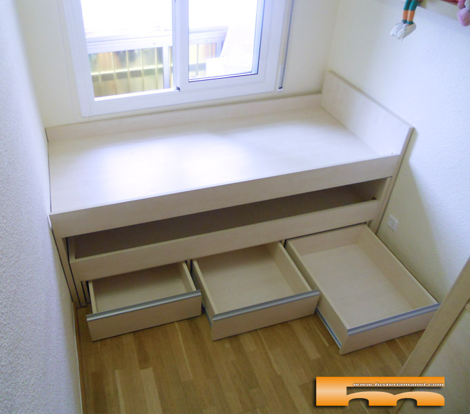 Cama compacta nido doble habitaci n infantil a medida for Cama juvenil doble con cajones