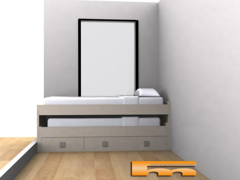 Cama compacta nido doble habitaci n infantil a medida - Medidas camas infantiles ...