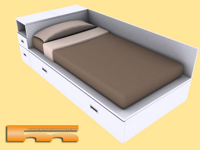 Cama de melamina con cajones imagui for Medidas para cama individual