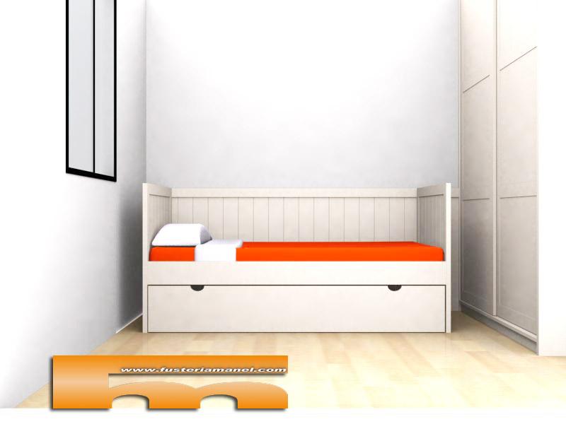 Cama nido tipo sof con arrimadero lacado a medida - Sofa cama a medida ...