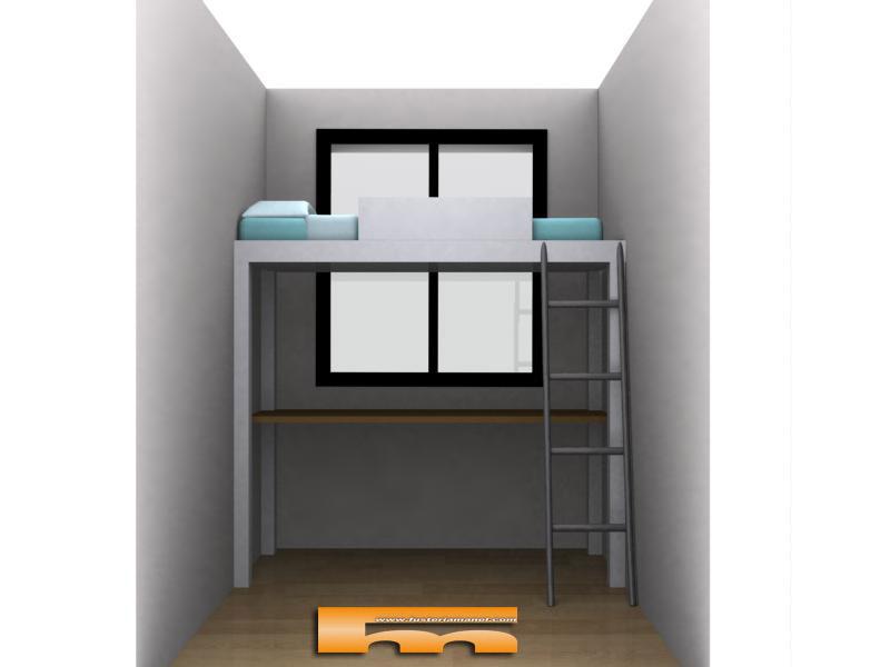 Casas cocinas mueble camas altas con escritorio - Cama litera con escritorio debajo ...