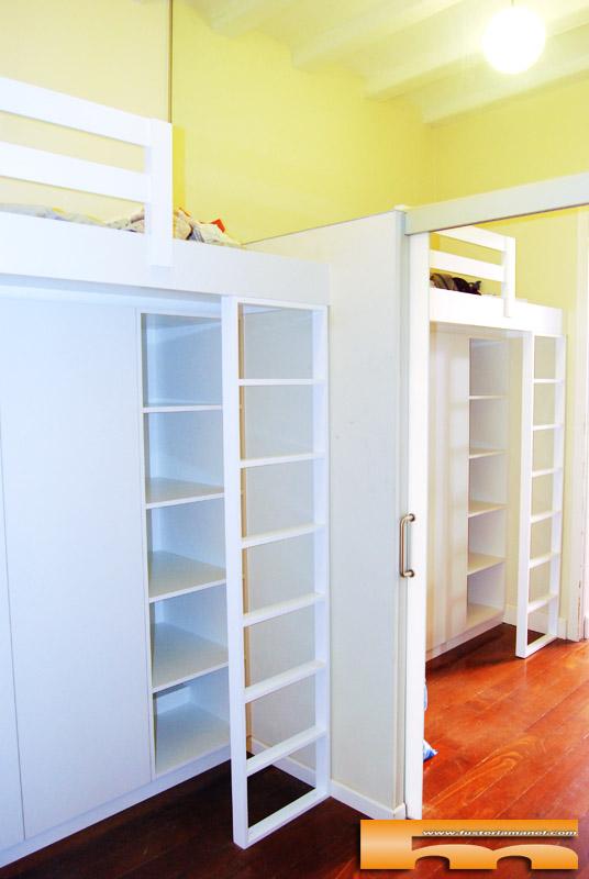 Camas altas con armario habitaci n juvenil chicos - Habitacion juvenil 2 camas ...