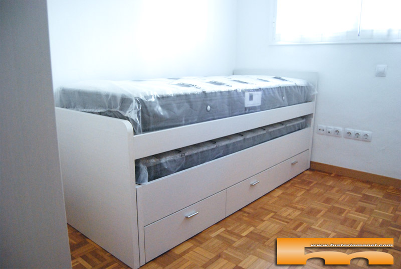 Habitaci n ni os con cama compacta armario escritorio - Camas a medida para ninos ...