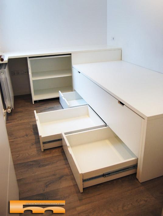 Cama compacta escritorio habitaci n juvenil barcelona for Medidas cama compacta