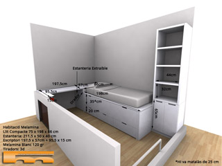 Cama compacta escritorio habitaci n juvenil barcelona - Habitacion juvenil barcelona ...