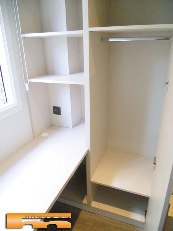 Cama compacta nido doble con armario y escritorio for Armarios habitacion juvenil