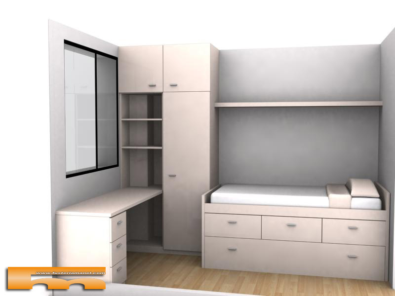 Cama compacta nido doble con armario y escritorio for Cama juvenil con escritorio