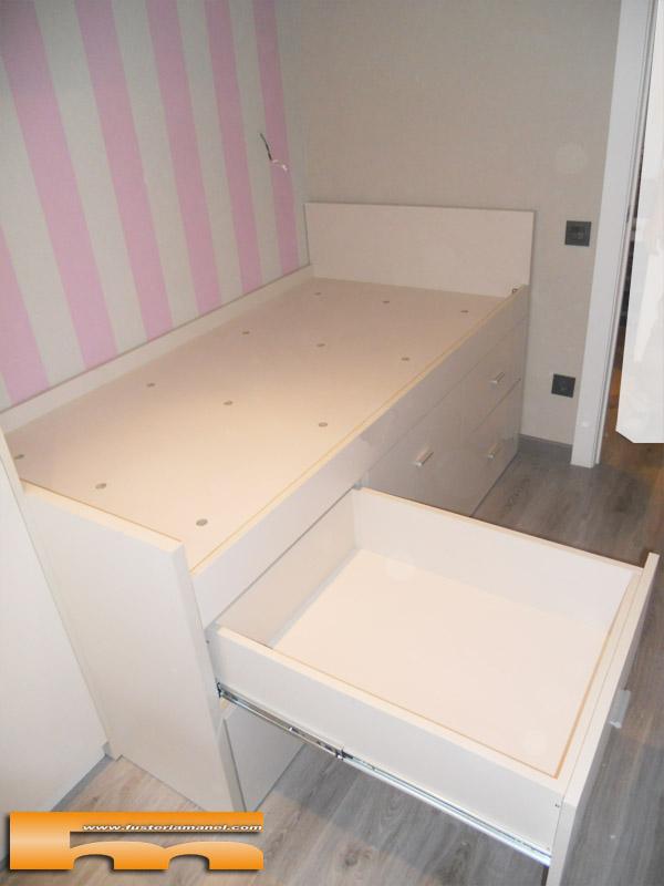 Cama compacta nido doble con armario y escritorio for Cama compacta con cajones