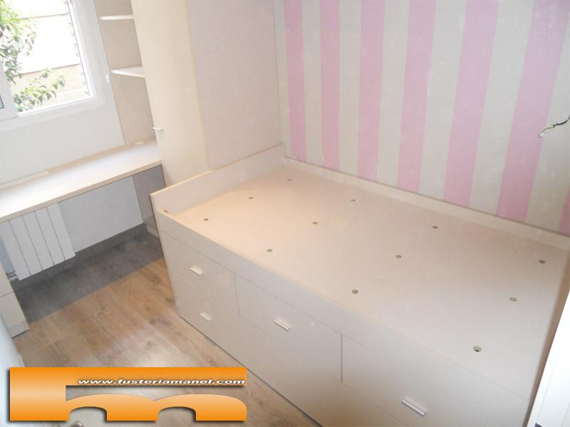 Cama compacta nido doble con armario y escritorio for Cama compacta con escritorio