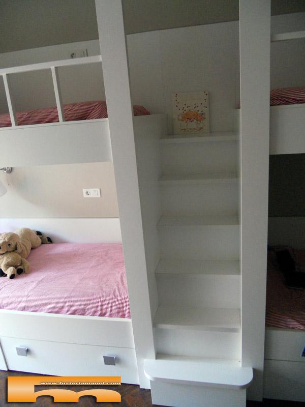 Literas con escaleras de cajones great habitacin infantil - Literas con escaleras de cajones ...