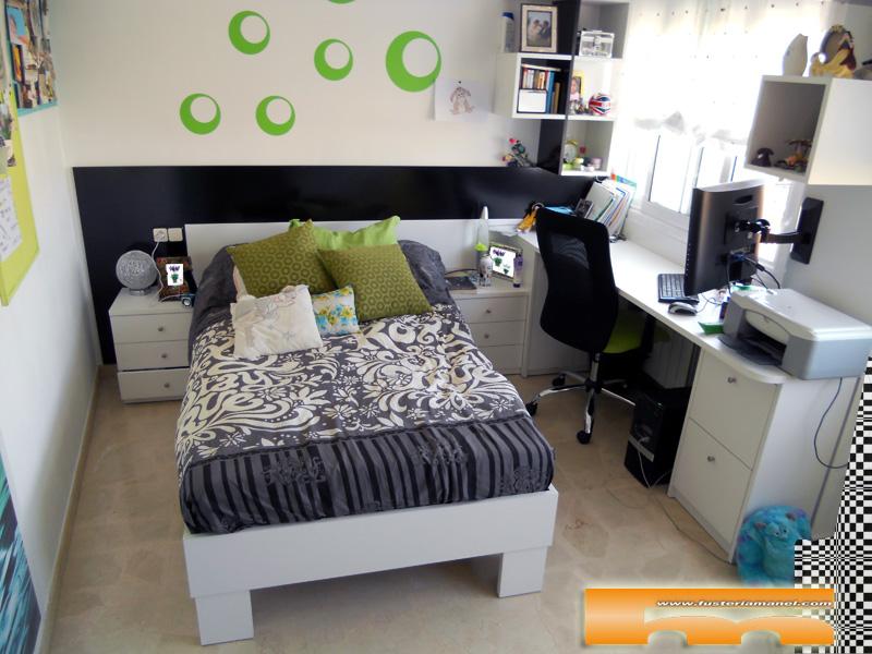 Habitaci n juvenil a medida cama escritorio y estantes - Escritorio para habitacion ...