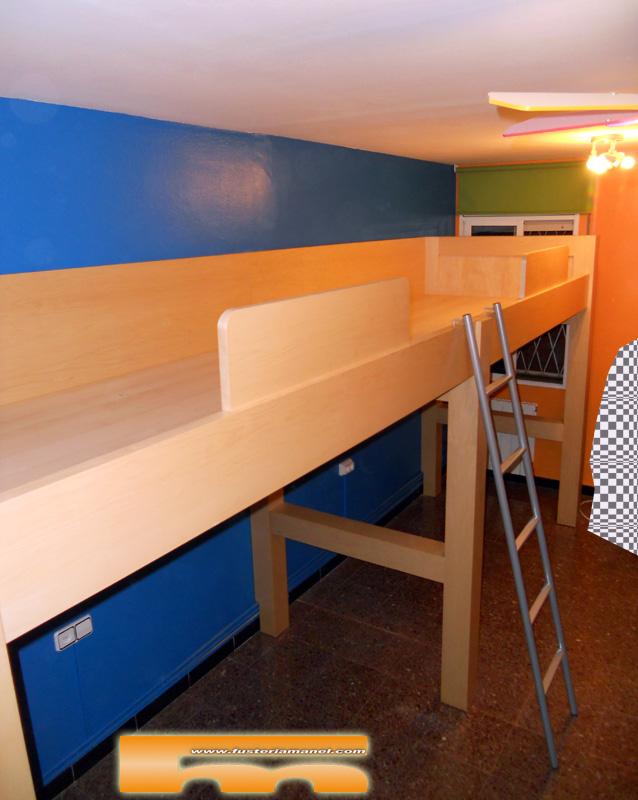 Habitaci n juvenil a medida camas altas cornella de - Medidas camas infantiles ...