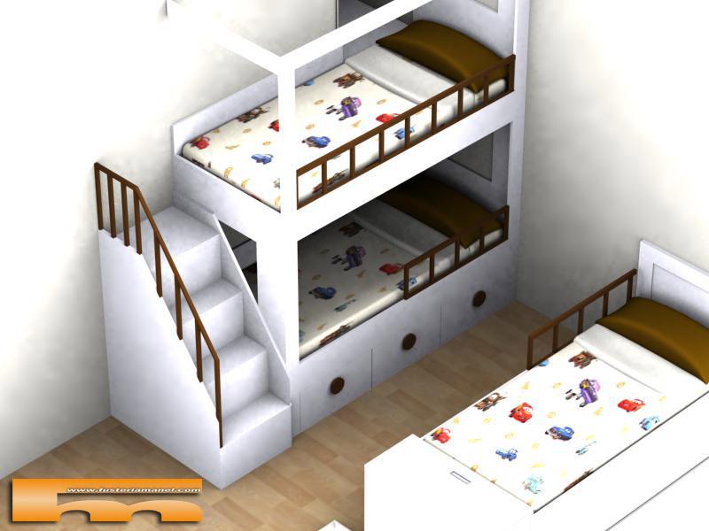 Litera medida y cama individual a medida muebles a - Litera con cama de matrimonio ...