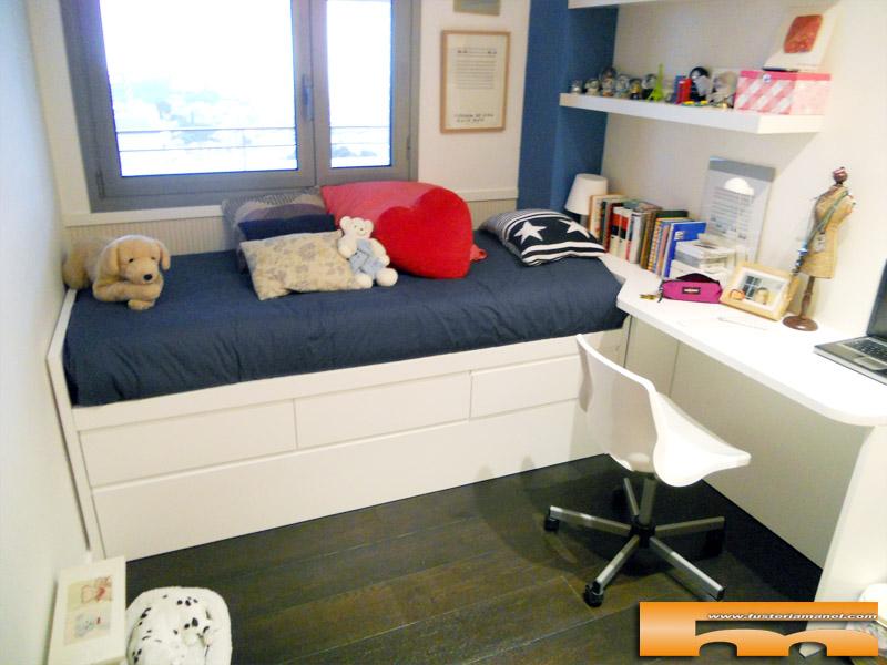 Cama nido y escritorio a medida lacado muebles a medida for Cama juvenil doble con cajones