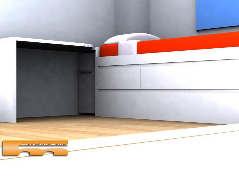 Cama nido y escritorio a medida lacado muebles a medida for Cama nido con cajones y escritorio