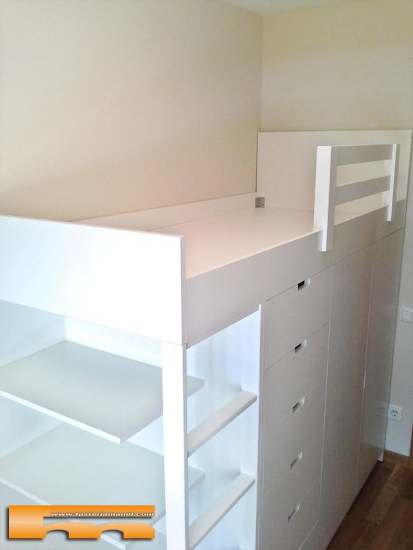 Habitacion cama block a medida y escritorio ramon sabadell for Medidas cama compacta