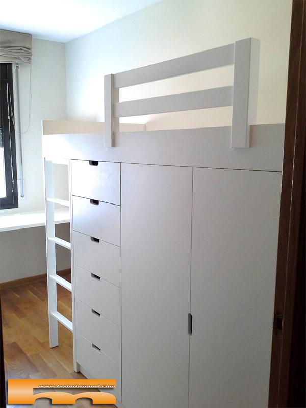 Habitacion cama block a medida y escritorio ramon sabadell - Cama alta con escritorio ...