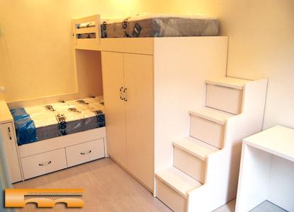 Literas camas realizadas habitaciones fichas - Literas con escaleras de cajones ...