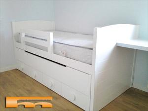 Cama compacta nido doble habitaci n infantil a medida santa coloma barcelona juan - Medidas de camas infantiles ...