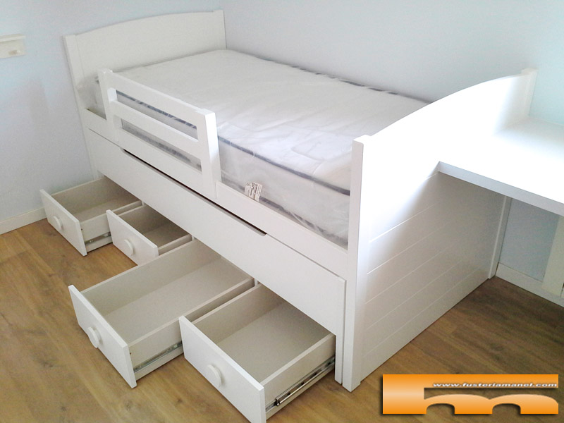 Camas infantiles con cajones cama nido infinity cmoda for Cama nido con cajones blanca
