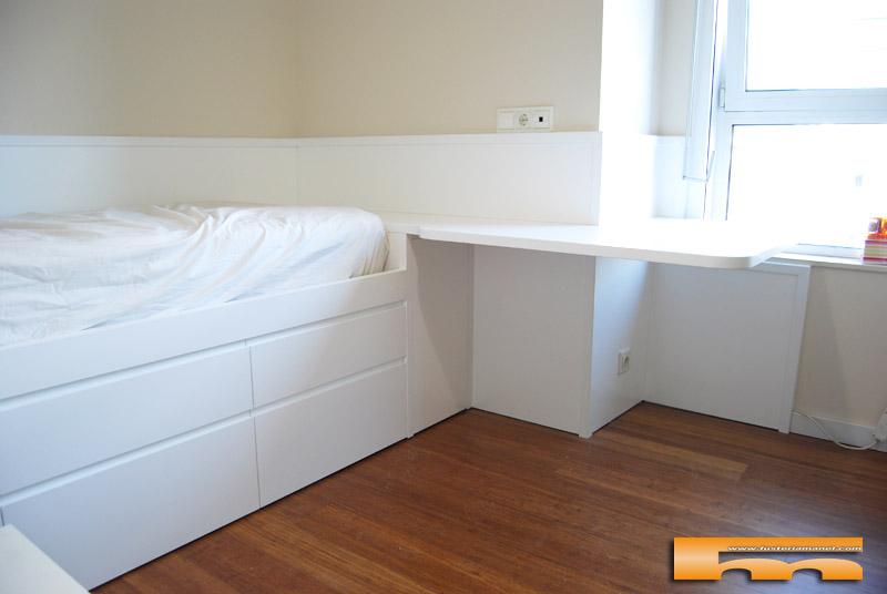 Cama compacta escritorio esquina hab juvenil carme - Habitacion juvenil barcelona ...