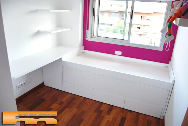 Cama compacta habitacion juvenil merce sant cugat for Cama compacta con escritorio