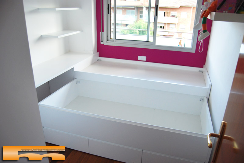 Cama compacta habitacion juvenil merce sant cugat for Zapatero esquinero