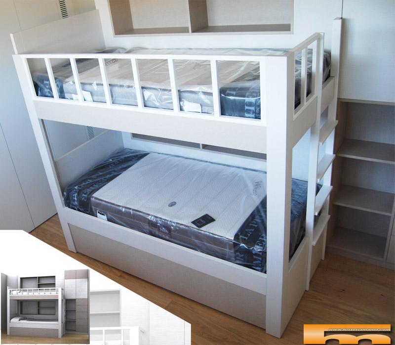 Litera a medida estanter a lateral habitaci n infantil - Dormitorios con literas para ninos ...