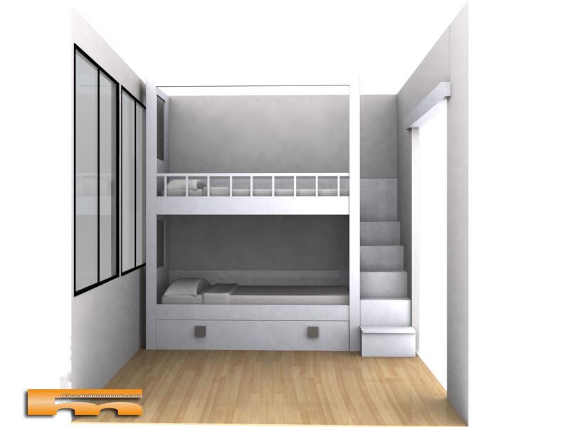 Litera a medida escalera lateral habitaci n infantil - Literas con escaleras de cajones ...