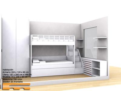 Litera escalera cajones habitaci n infantil barcelona - Habitacion infantil compartida ...