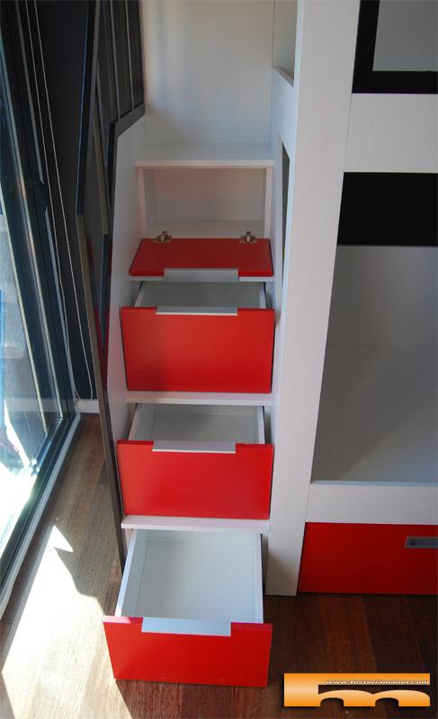 Litera a medida escalera lateral habitaci n infantil - Escalera cajones para litera ...