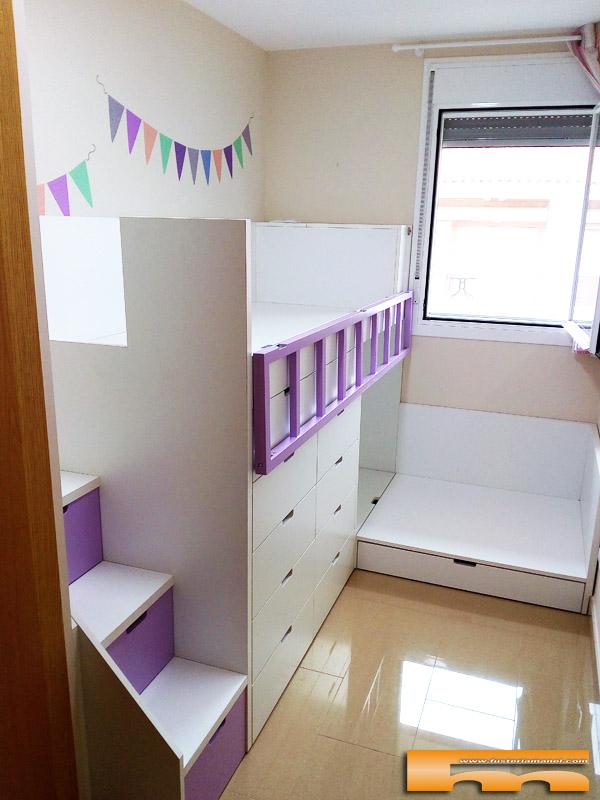 Litera tren cruzada escalera cajones habitaci n infantil roser barcelona - Habitacion infantil tren ...