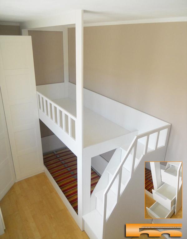 Litera a medida escalera lateral habitaci n infantil - Escaleras para camas altas ...