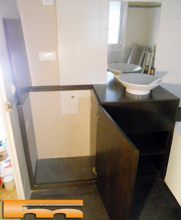 Mueble lavadora apertura superior a medida barcelona alba for Medidas para muebles