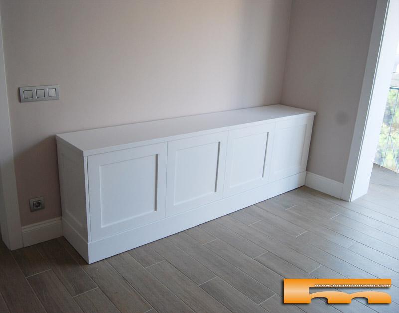 Mueble tv lacado con moldura a medida ripollet cristina - Pintar muebles lacados en blanco ...