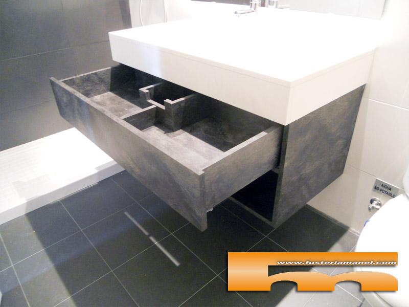 Medidas Baño De Servicio:Mueble de Baño a medida suspendido con Cajón Superior encajado a